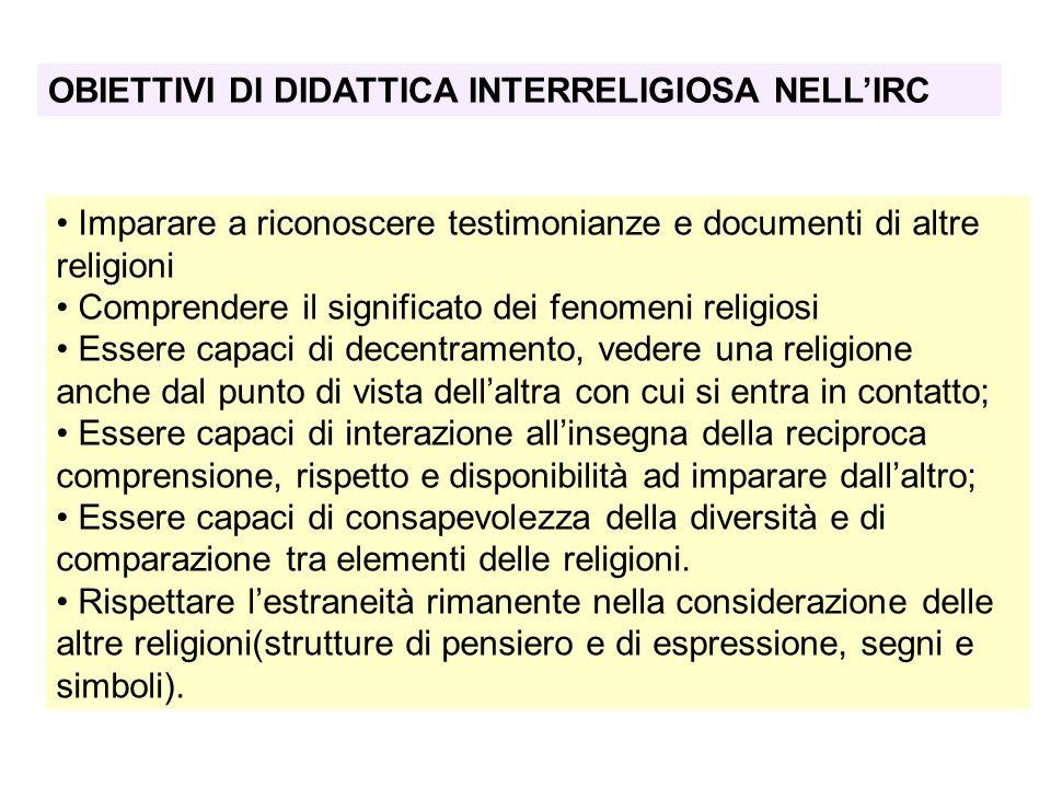 OBIETTIVI DI DIDATTICA INTERRELIGIOSA NELL'IRC