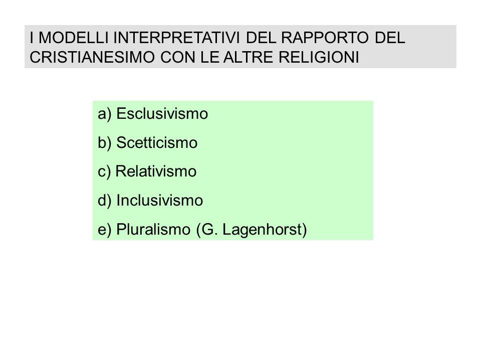 I MODELLI INTERPRETATIVI DEL RAPPORTO DEL CRISTIANESIMO CON LE ALTRE RELIGIONI