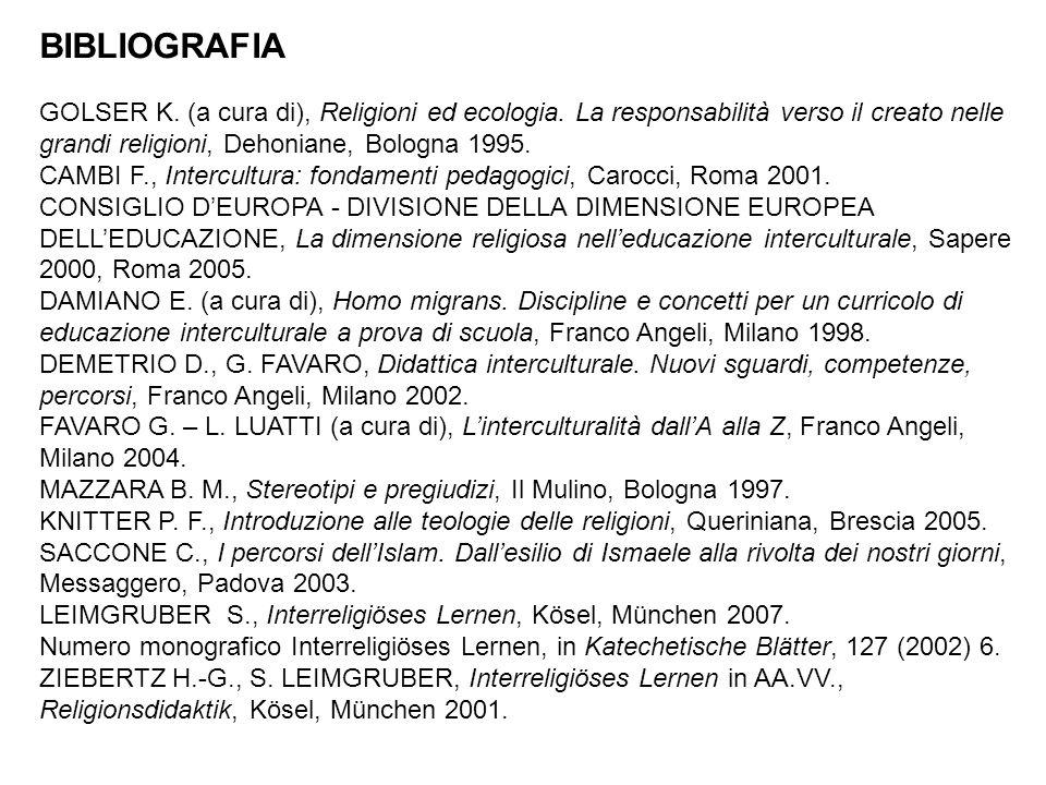BIBLIOGRAFIA GOLSER K. (a cura di), Religioni ed ecologia. La responsabilità verso il creato nelle grandi religioni, Dehoniane, Bologna 1995.