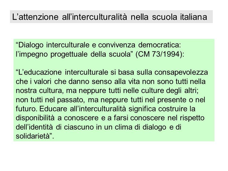 L'attenzione all'interculturalità nella scuola italiana