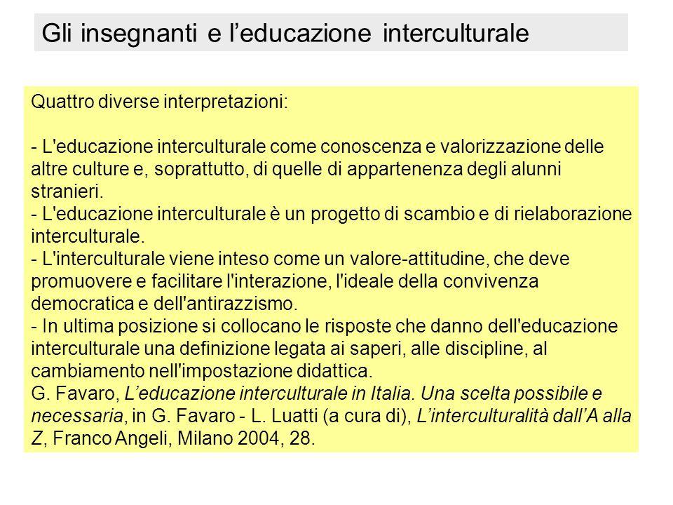 Gli insegnanti e l'educazione interculturale