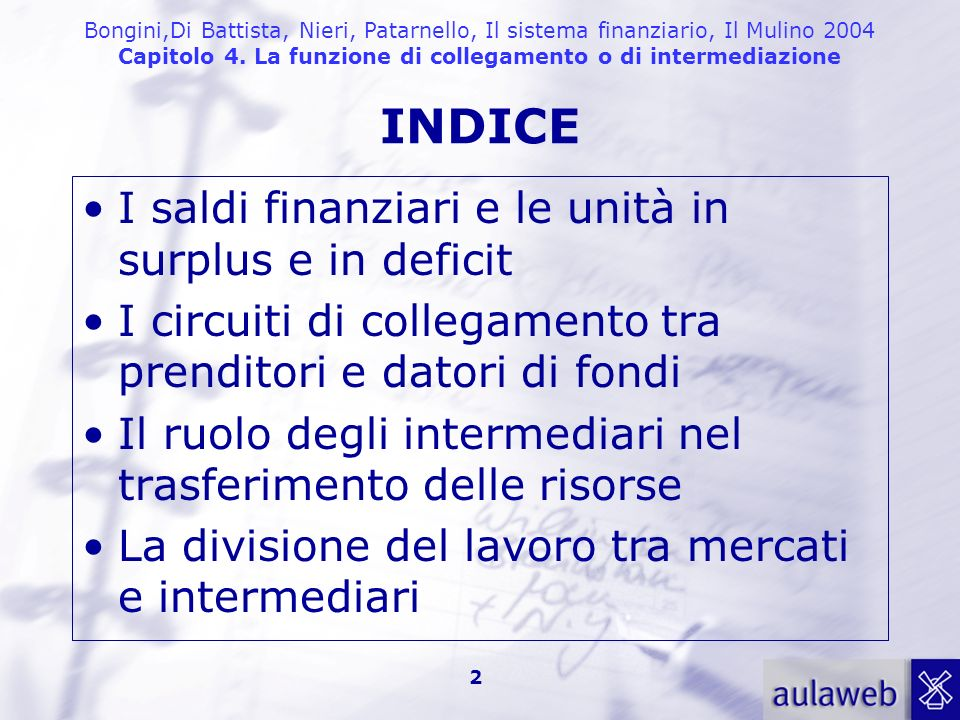 INDICE I saldi finanziari e le unità in surplus e in deficit