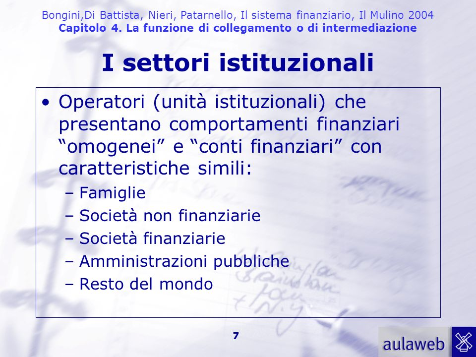 I settori istituzionali