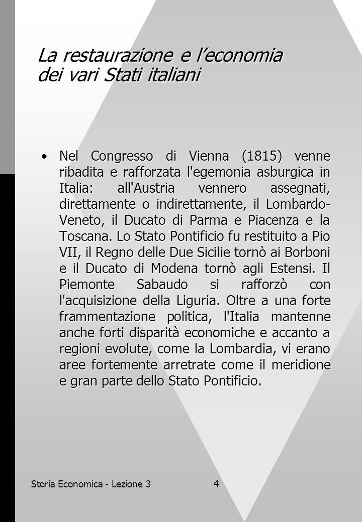 La restaurazione e l'economia dei vari Stati italiani