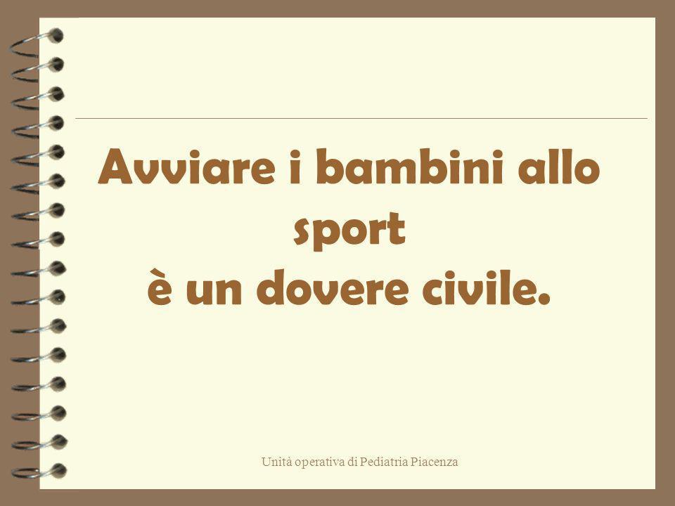 Avviare i bambini allo sport è un dovere civile.