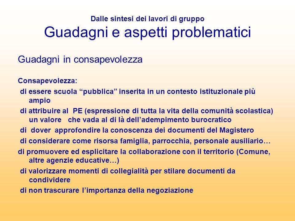Dalle sintesi dei lavori di gruppo Guadagni e aspetti problematici