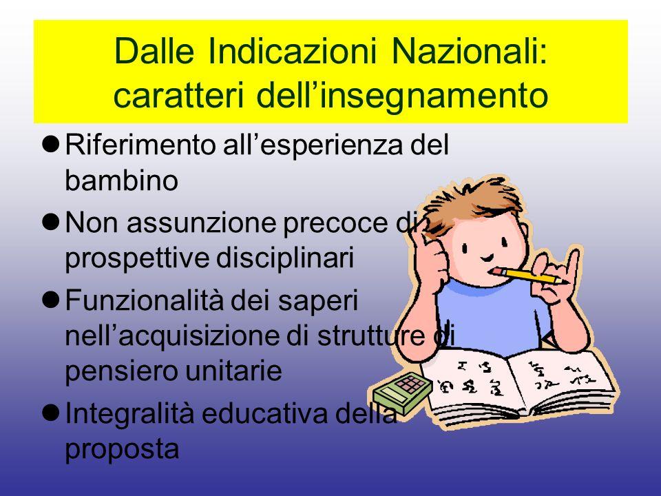 Dalle Indicazioni Nazionali: caratteri dell'insegnamento