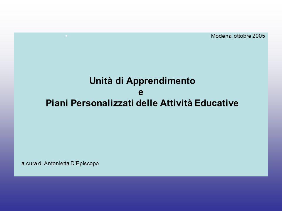 Unità di Apprendimento Piani Personalizzati delle Attività Educative
