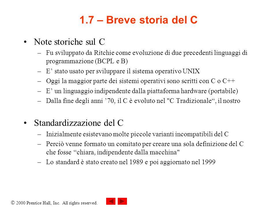 1.7 – Breve storia del C Note storiche sul C Standardizzazione del C