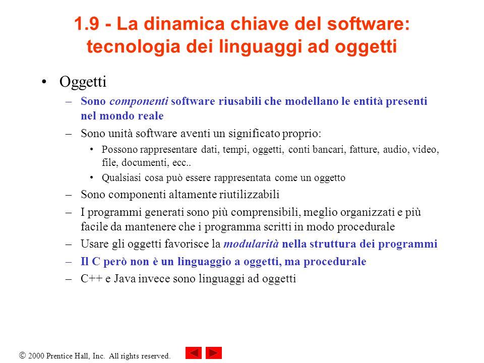 1.9 - La dinamica chiave del software: tecnologia dei linguaggi ad oggetti