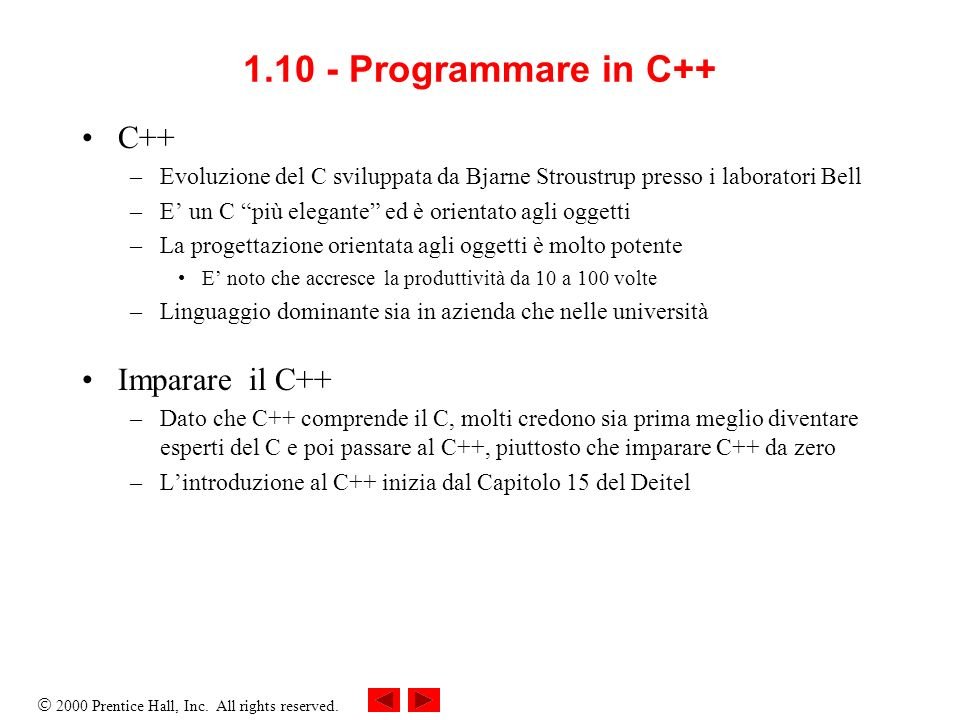 1.10 - Programmare in C++ C++ Imparare il C++