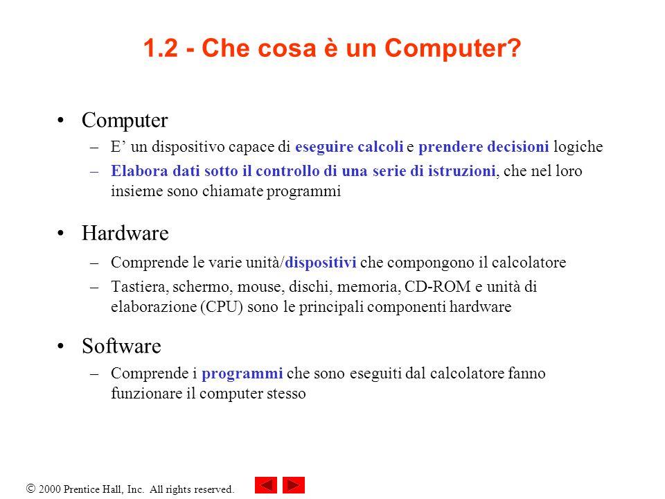 1.2 - Che cosa è un Computer Computer Hardware Software