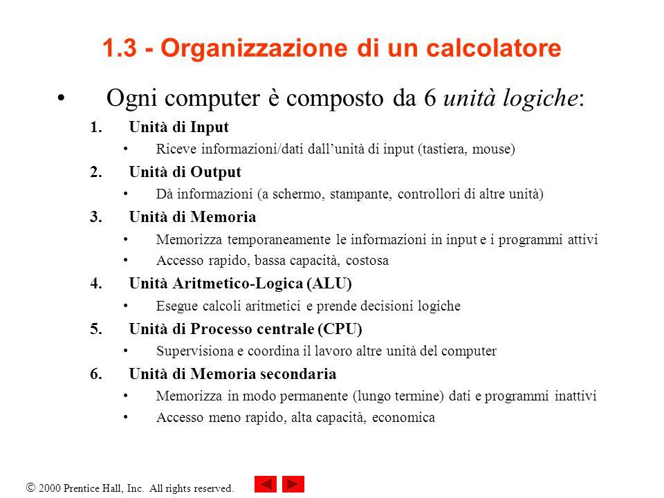1.3 - Organizzazione di un calcolatore