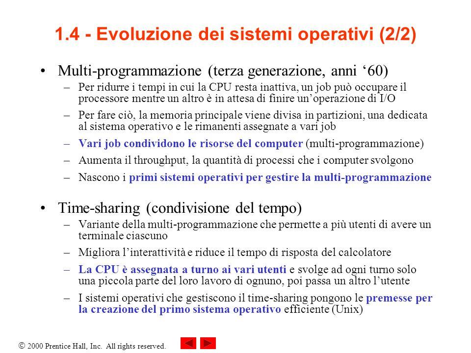 1.4 - Evoluzione dei sistemi operativi (2/2)