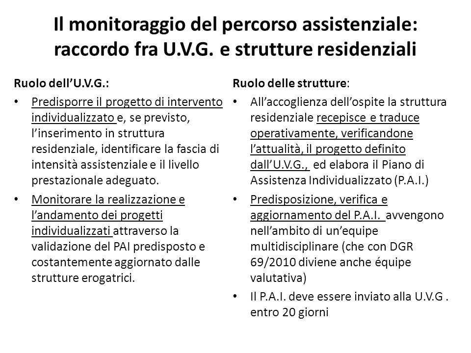 Il monitoraggio del percorso assistenziale: raccordo fra U. V. G