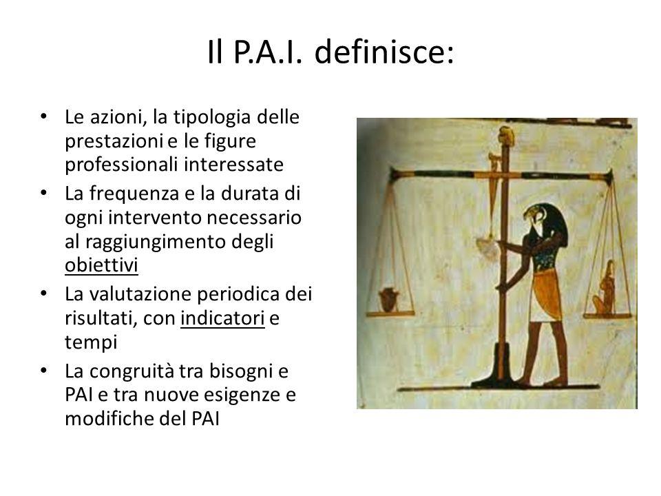 Il P.A.I. definisce: Le azioni, la tipologia delle prestazioni e le figure professionali interessate.