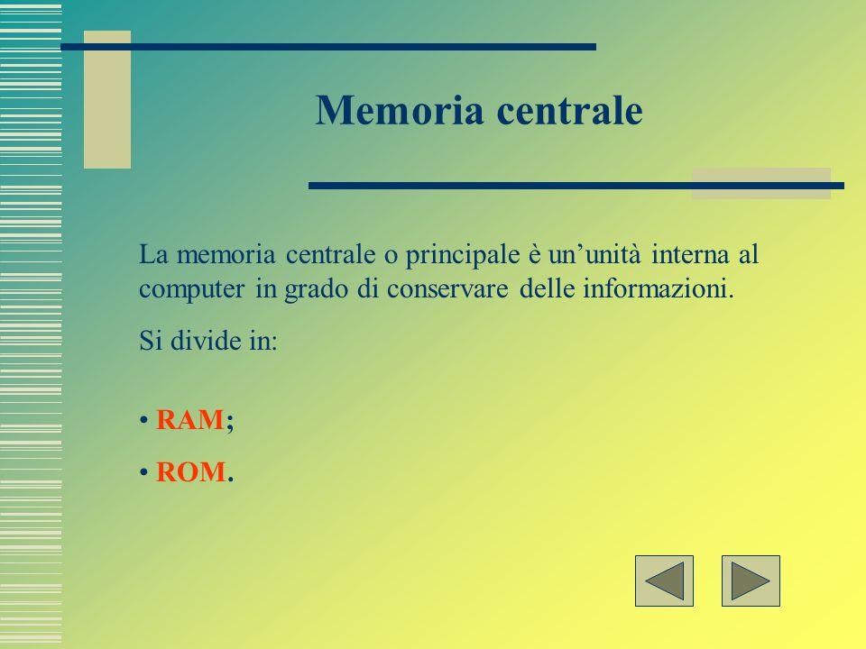 Memoria centrale La memoria centrale o principale è un'unità interna al computer in grado di conservare delle informazioni.