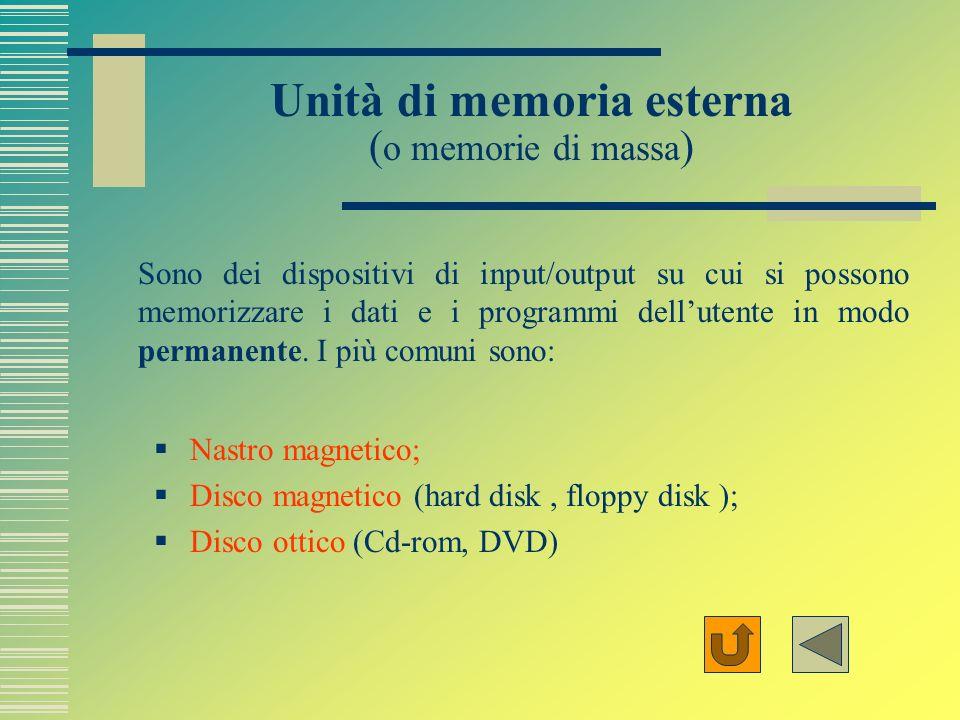 Unità di memoria esterna (o memorie di massa)