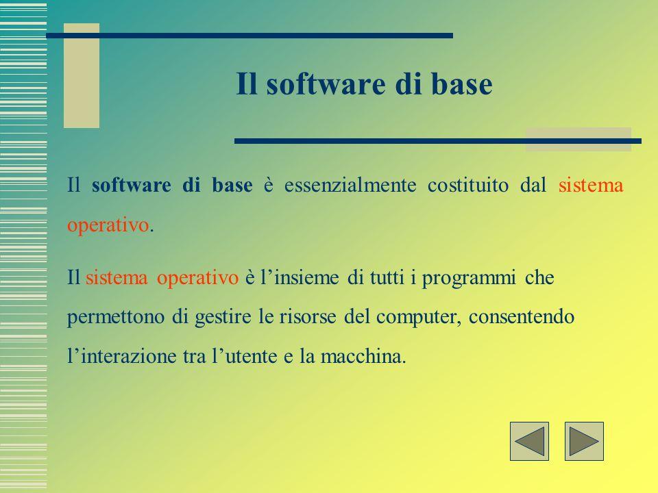 Il software di base Il software di base è essenzialmente costituito dal sistema operativo.