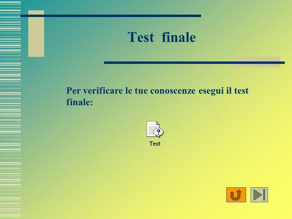 Test finale Per verificare le tue conoscenze esegui il test finale: