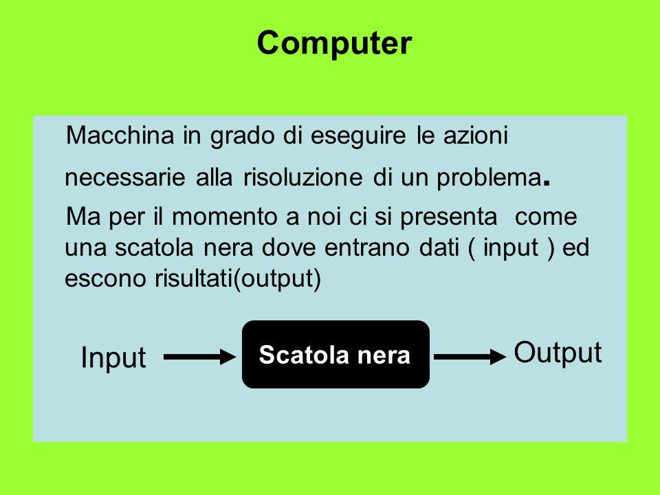 Computer Macchina in grado di eseguire le azioni necessarie alla risoluzione di un problema.