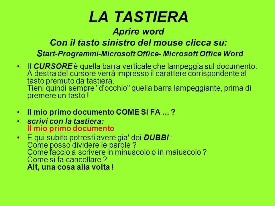 LA TASTIERA Aprire word Con il tasto sinistro del mouse clicca su: Start-Programmi-Microsoft Office- Microsoft Office Word