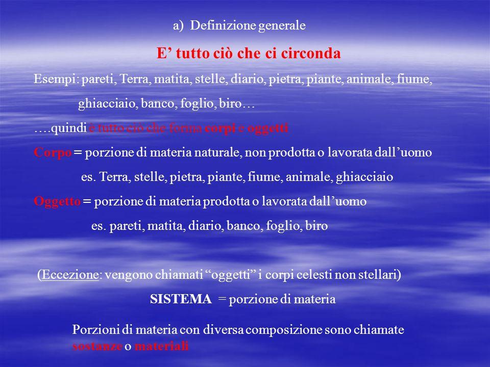 SISTEMA = porzione di materia