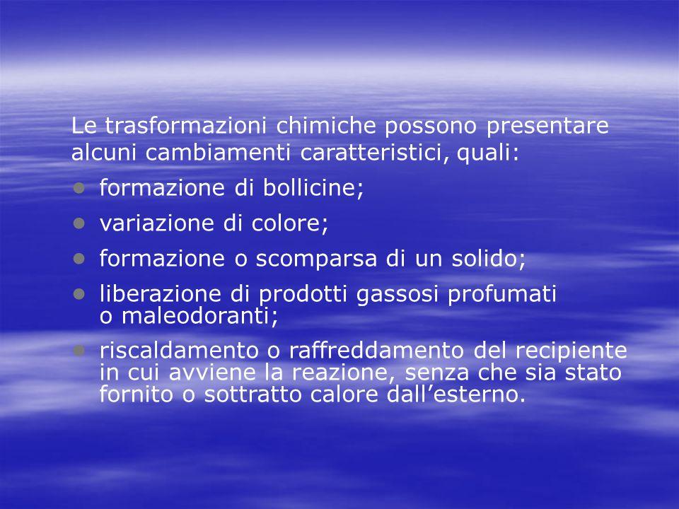 • formazione di bollicine; • variazione di colore;
