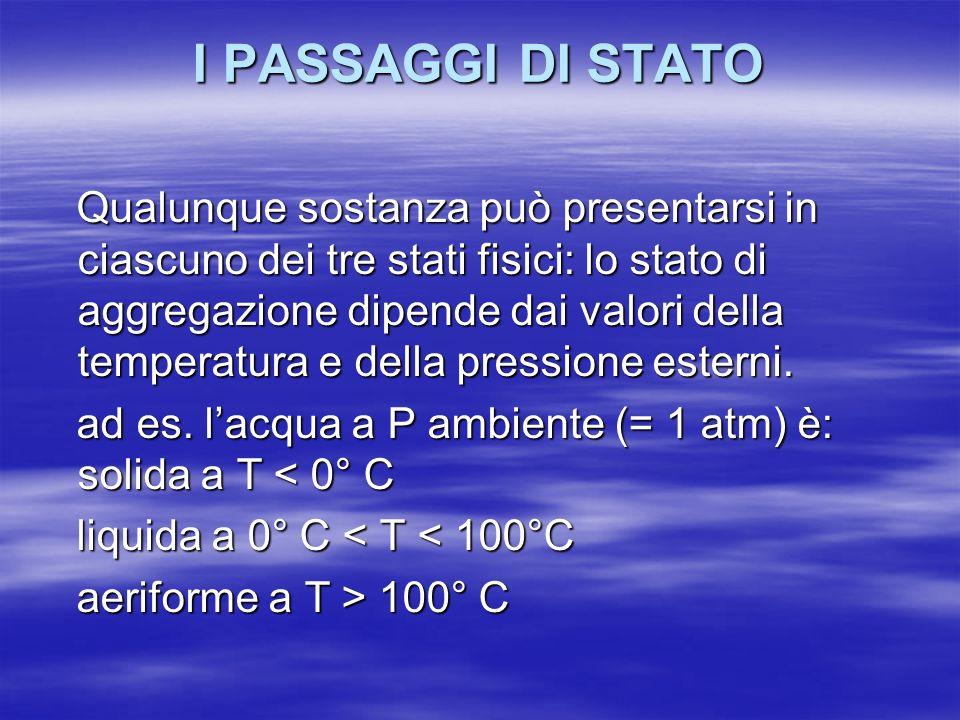 I PASSAGGI DI STATO