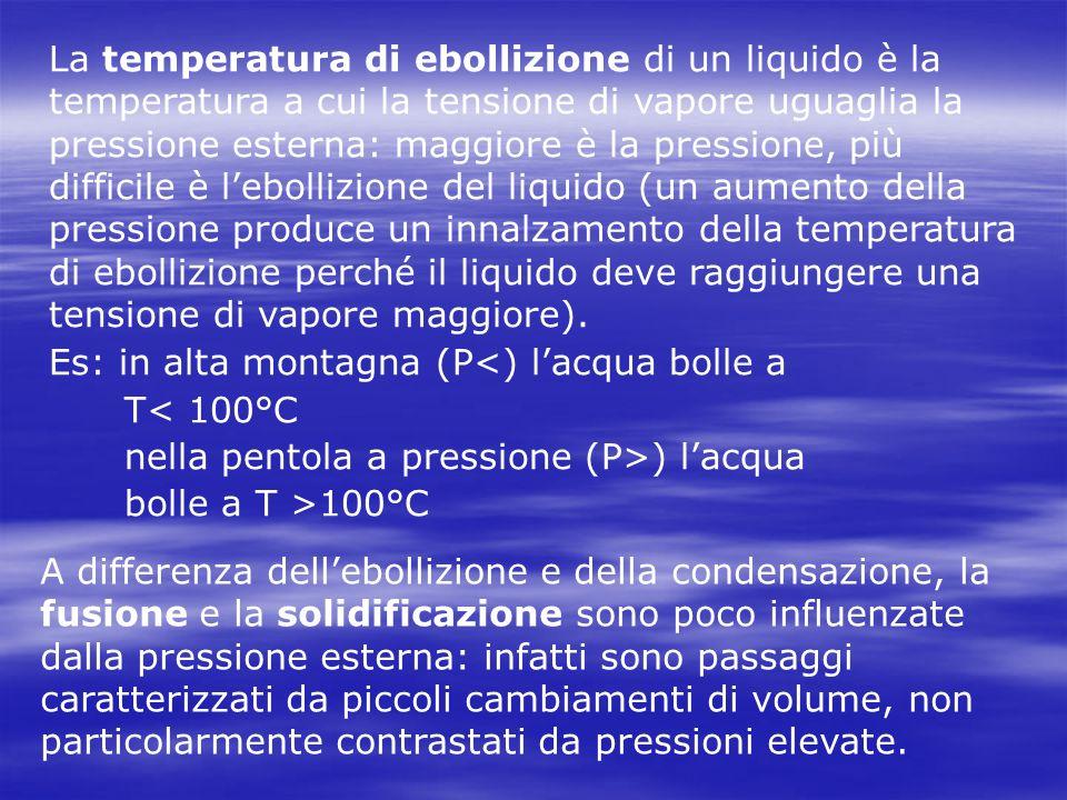 La temperatura di ebollizione di un liquido è la temperatura a cui la tensione di vapore uguaglia la pressione esterna: maggiore è la pressione, più difficile è l'ebollizione del liquido (un aumento della pressione produce un innalzamento della temperatura di ebollizione perché il liquido deve raggiungere una tensione di vapore maggiore).