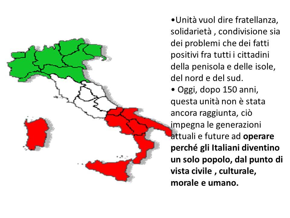 Unità vuol dire fratellanza, solidarietà , condivisione sia dei problemi che dei fatti positivi fra tutti i cittadini della penisola e delle isole, del nord e del sud.