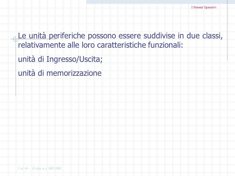 Le unità periferiche possono essere suddivise in due classi, relativamente alle loro caratteristiche funzionali: