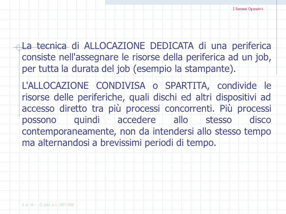 La tecnica di ALLOCAZIONE DEDICATA di una periferica consiste nell assegnare le risorse della periferica ad un job, per tutta la durata del job (esempio la stampante).