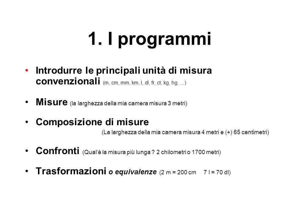 1. I programmi Introdurre le principali unità di misura convenzionali (m, cm, mm, km, l, dl, fr, ct, kg, hg, …)