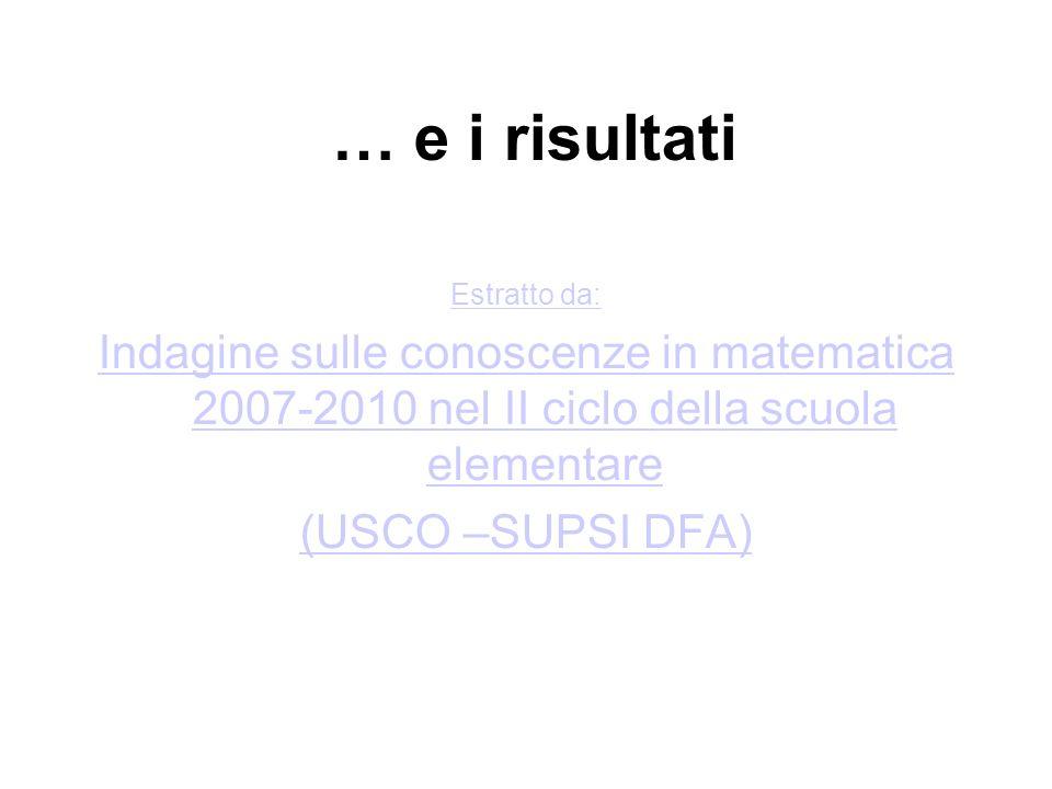 … e i risultati Estratto da: Indagine sulle conoscenze in matematica 2007-2010 nel II ciclo della scuola elementare.