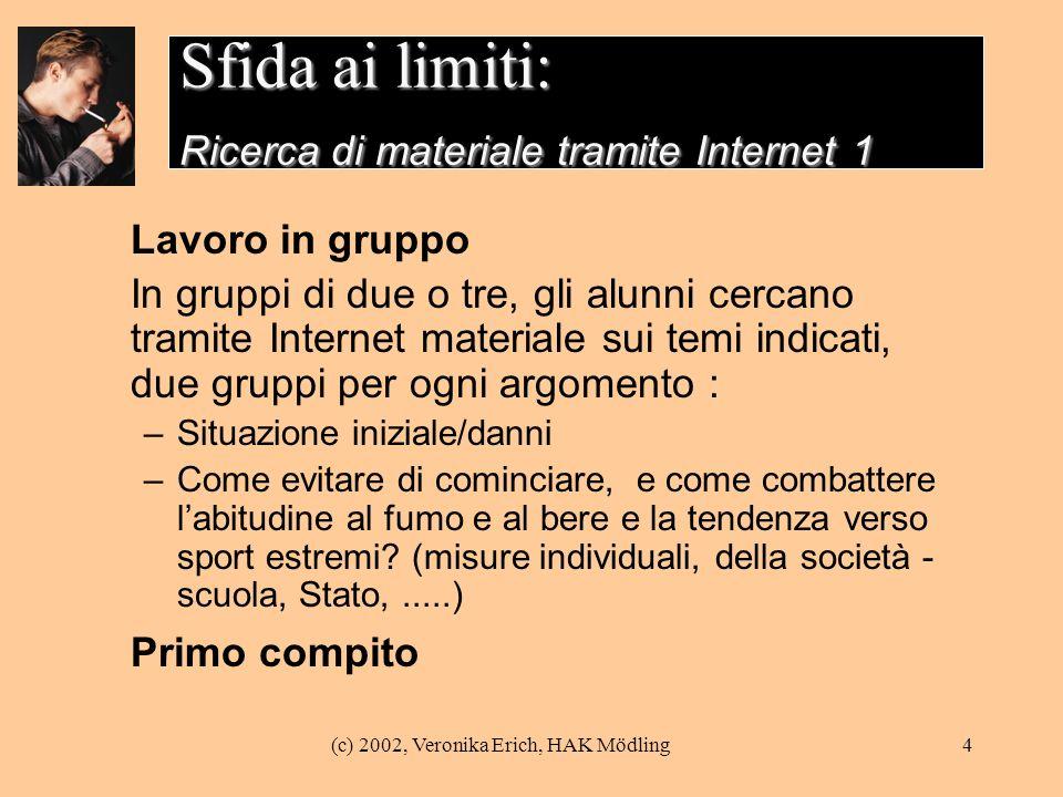 Sfida ai limiti: Ricerca di materiale tramite Internet 1