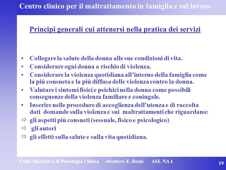 Principi generali cui attenersi nella pratica dei servizi