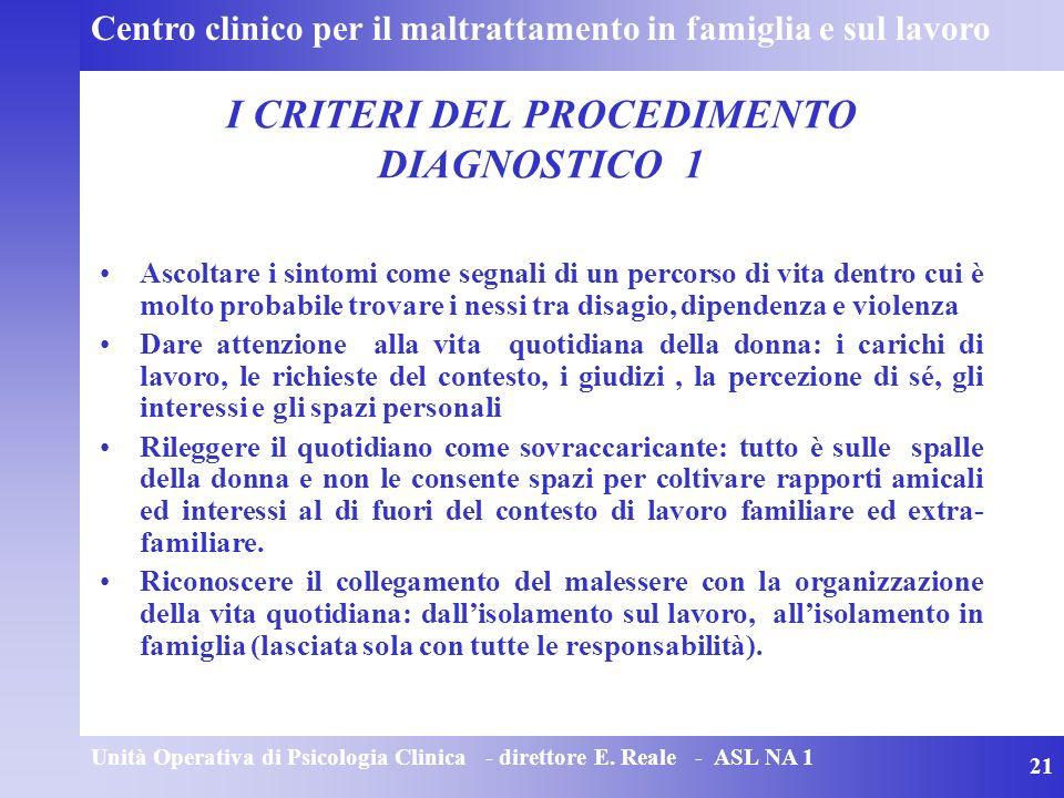 I CRITERI DEL PROCEDIMENTO DIAGNOSTICO 1