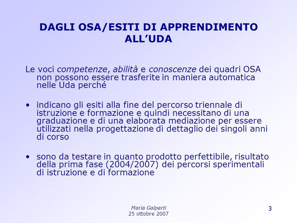 DAGLI OSA/ESITI DI APPRENDIMENTO ALL'UDA