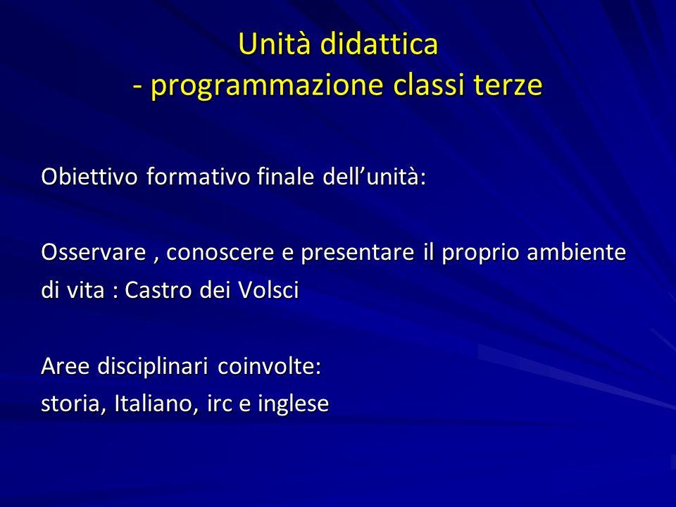Unità didattica - programmazione classi terze