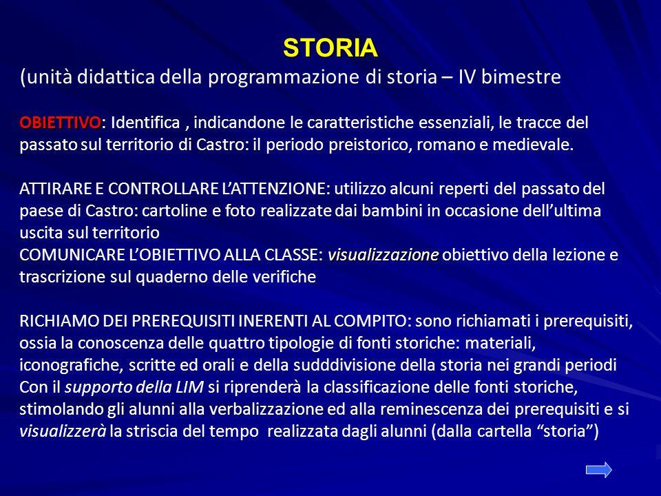 STORIA (unità didattica della programmazione di storia – IV bimestre