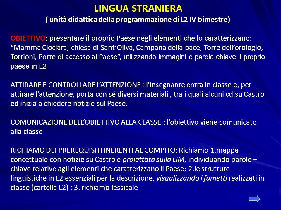 ( unità didattica della programmazione di L2 IV bimestre)
