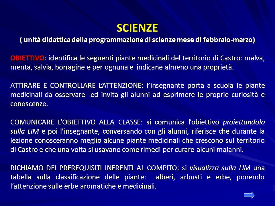 SCIENZE ( unità didattica della programmazione di scienze mese di febbraio-marzo)