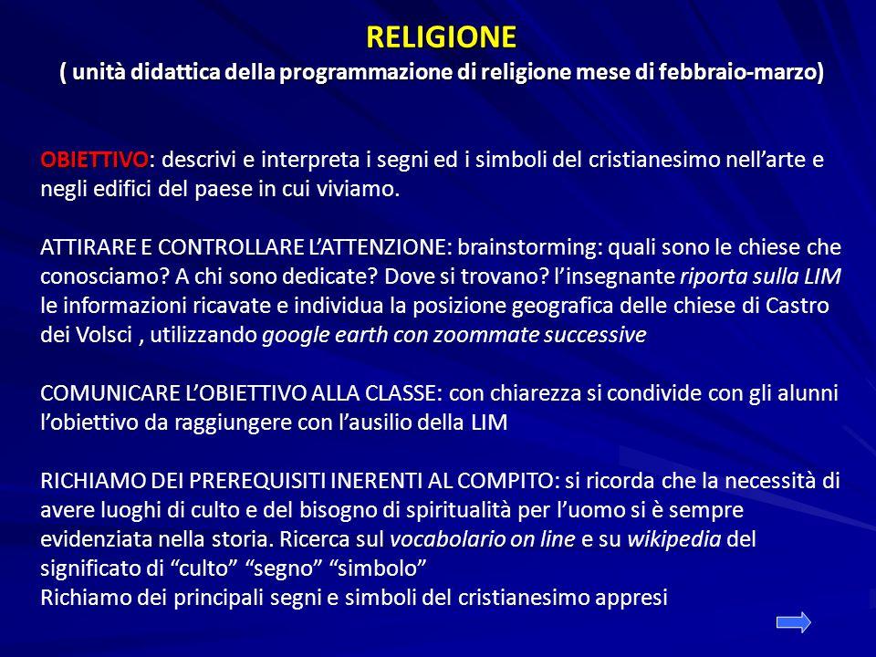 RELIGIONE ( unità didattica della programmazione di religione mese di febbraio-marzo)
