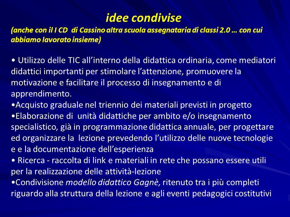idee condivise (anche con il I CD di Cassino altra scuola assegnataria di classi 2.0 … con cui abbiamo lavorato insieme)