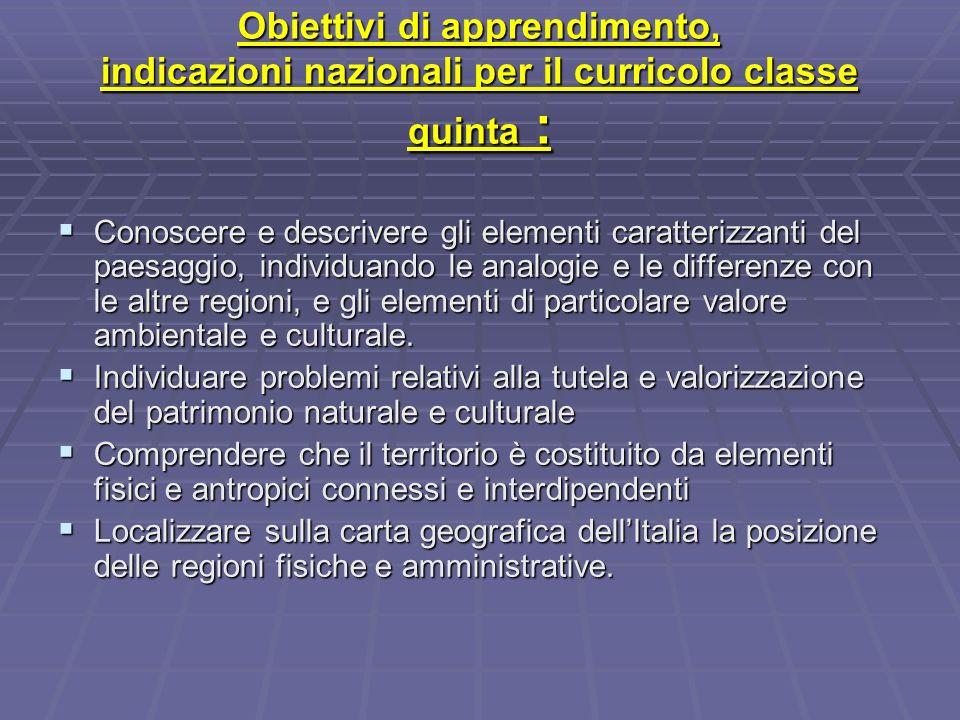 Obiettivi di apprendimento, indicazioni nazionali per il curricolo classe quinta :