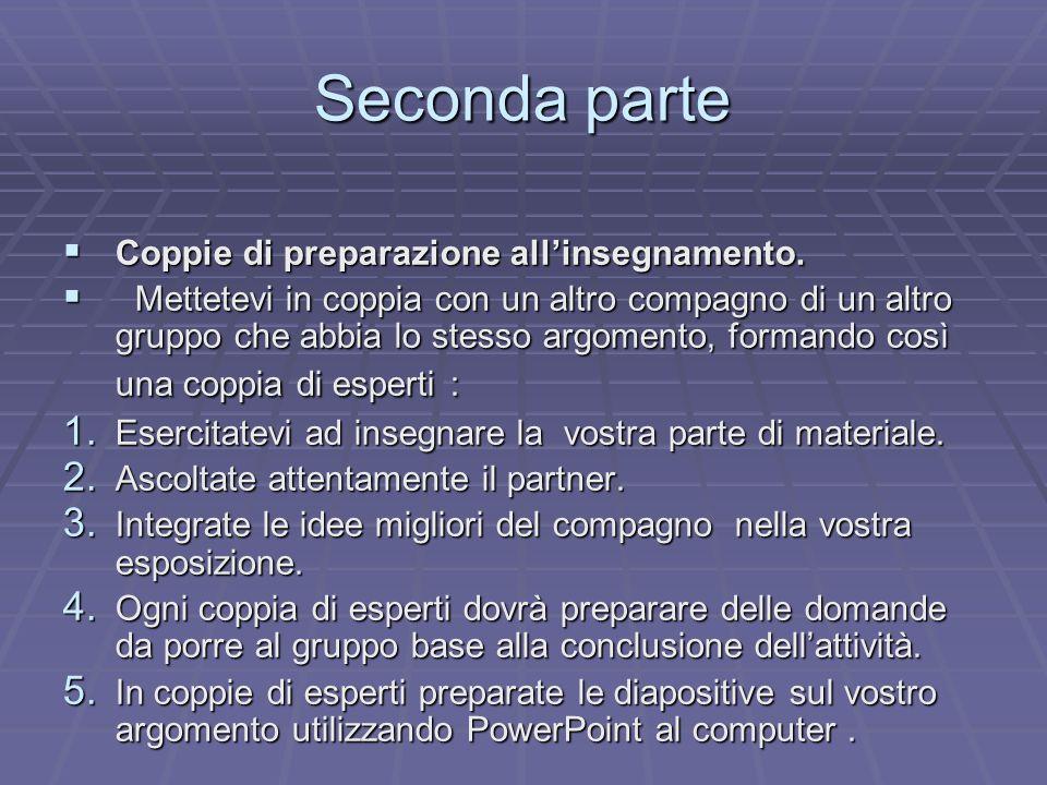 Seconda parte Coppie di preparazione all'insegnamento.