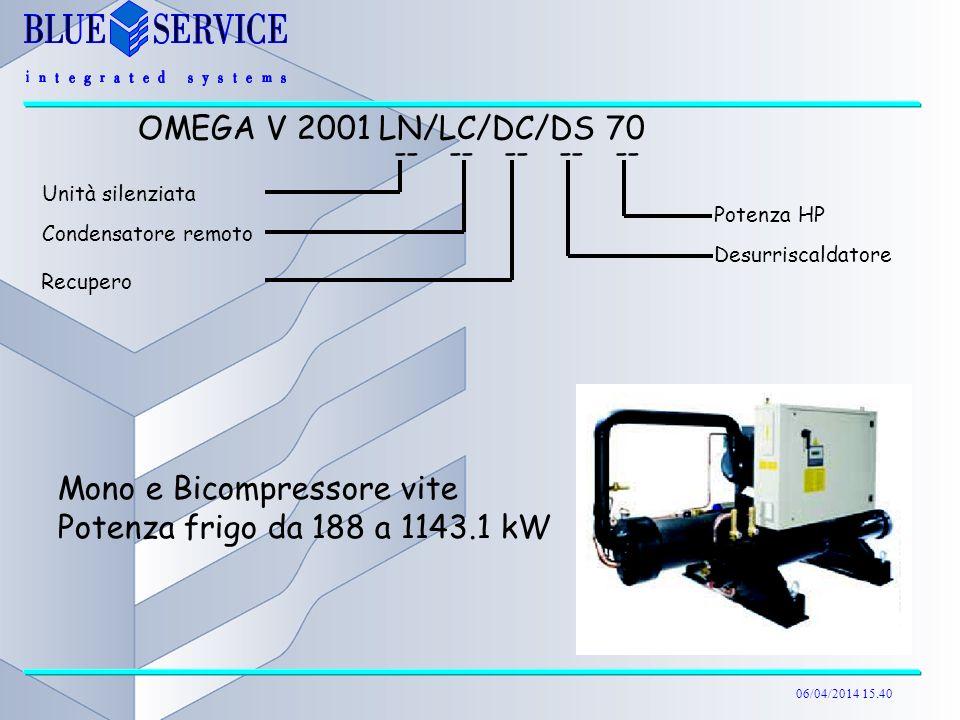 Mono e Bicompressore vite Potenza frigo da 188 a 1143.1 kW