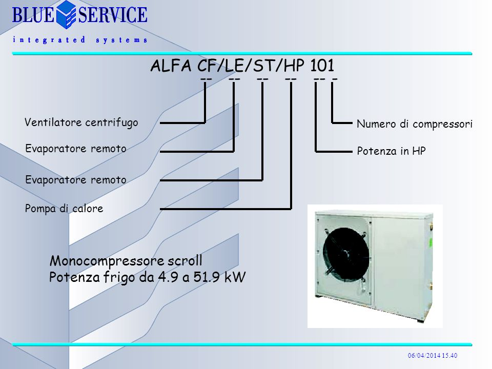ALFA CF/LE/ST/HP 101 -- -- -- -- -- - Monocompressore scroll