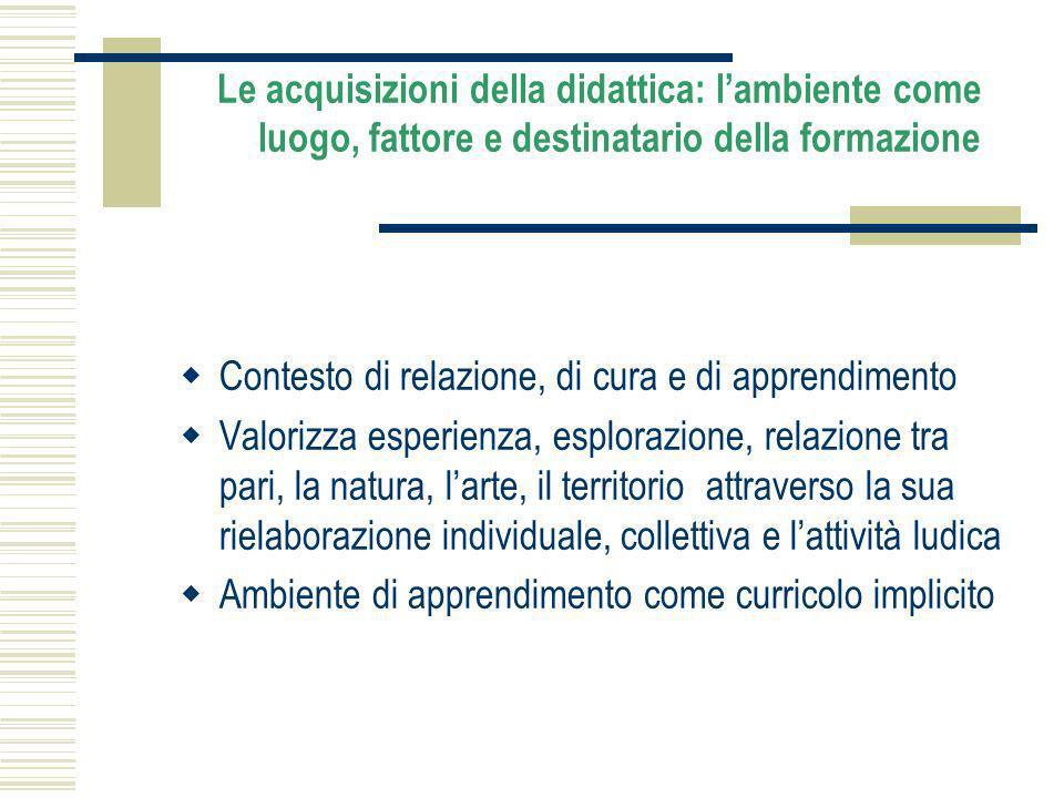 Le acquisizioni della didattica: l'ambiente come luogo, fattore e destinatario della formazione